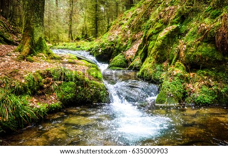 Waterfall green forest river stream landscape #635000903