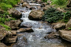 Waterfall green forest river stream landscape, Mossy rocks waterfall stream, Waterfall rocks stream Waterfall close up view