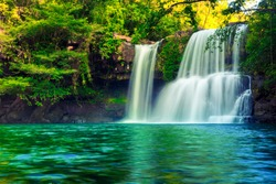 Waterfall hidden in the tropical jungle