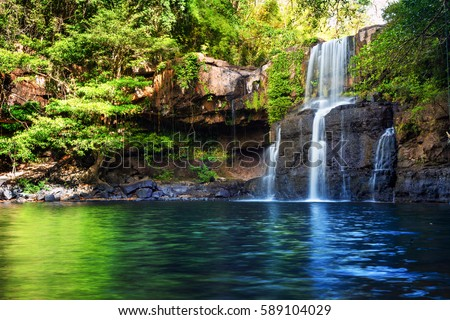 Waterfall hidden in the tropical jungle #589104029