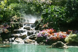 Waterfall in a beautiful tropical setting