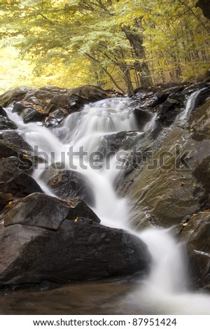waterfall in a forest with colorful trees in autumn