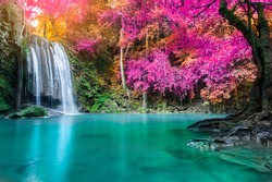 Waterfall in autumn forest at Erawan waterfall National Park, Thailand
