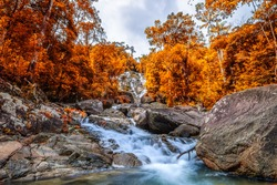 Waterfall in autumn, Phraiwan waterfall, Phatthalung, Thailand.