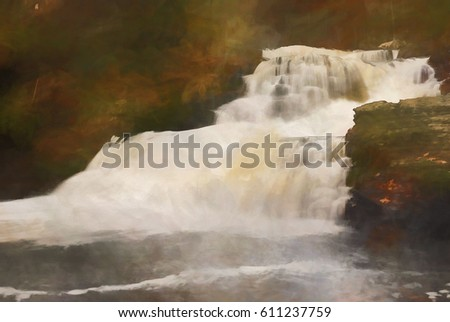 Waterfall in Autumn transformed into a watercolor style painting. Factory Falls is located in George W Childs State Park, in the Poconos region of Pennsylvania.
