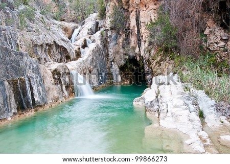 Stock Photo waterfall in Bolbaite, Valencia, Spain