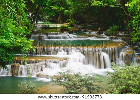 waterfall in deep forest as background