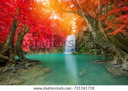 Waterfall in Deep forest at Erawan waterfall National Park. stock photo