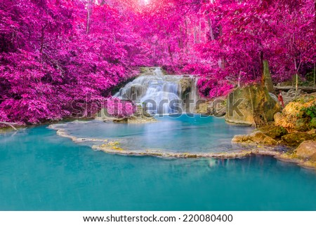 Waterfall in Deep forest at Erawan waterfall National Park Kanjanaburi Thailand