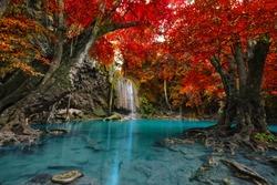 Waterfall in deep forest , Erawan waterfall National Park , Thailand