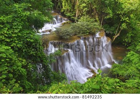 waterfall in deep forest in Karnjanaburi