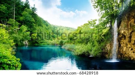 waterfall in deep forest of Croatia - stock photo