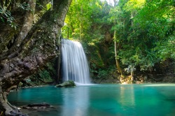 waterfall in deep forest  , thailand  nature background