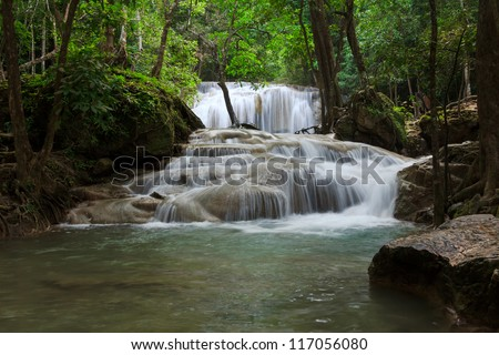 Waterfall in Erawan national park, level 1, Kanchanaburi