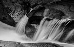 waterfall in forest, Schiessentümpel Luxembourg, black and white