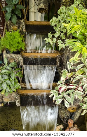 Waterfall in garden.