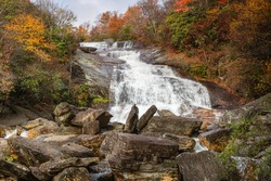 Waterfall in Graveyard Fields, a flat mountain valley in the Blue Ridge Mountains of Western North Carolina in autumn.