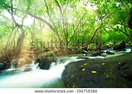 Waterfall in Green Tropical Forest, Thailand