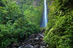 Waterfall in Guadeloupe Caribbean island. Chutes du Carbet, waterfall in Guadeloupe National Park. Natural wonder.