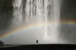 Waterfall in Iceland with rainbow