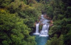 Waterfall in jungle in Koh Kood island.