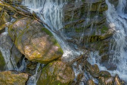Waterfall in lush green forest during Springamd Summer Melrose Falls