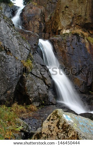 Waterfall in motion blur.