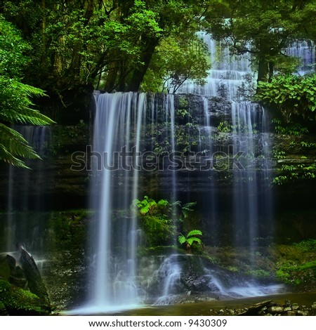 Waterfall in National Park in Tasmania - stock photo