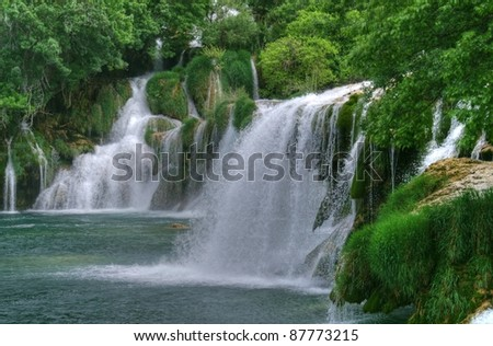 Waterfall in national park Krka, Croatia - stock photo