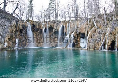 Waterfall in Plitvice Lakes national park, Croatia - stock photo