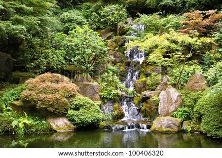 Waterfall in Portland Japanese Garden - stock photo