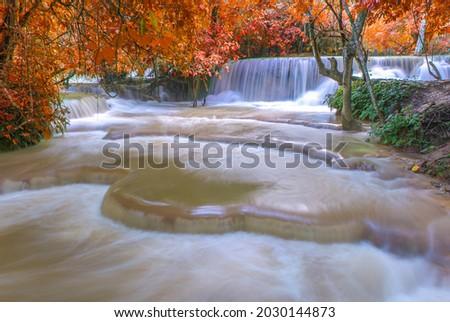 Waterfall in rain forest. Tat Kuang Si Waterfalls at Luang prabang, Laos Photo stock ©