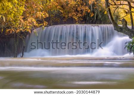 Waterfall in rain forest. Tat Kuang Si Waterfalls at Luang prabang, Laos. Photo stock ©