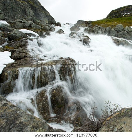 Waterfall in scandinavian mountains
