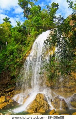 Waterfall in Soroa, a famous cuban touristic landmark