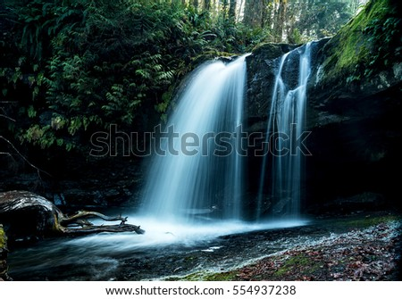 Waterfall in Stocking Creek Park 1, Saltair, Vancouver Island, B.C.   #554937238