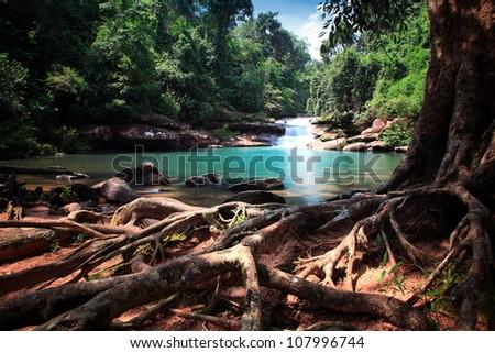 waterfall in thai national park.
