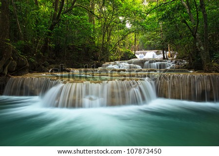 waterfall in thai national park In the deep forest on mountain.