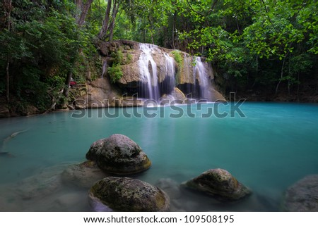 Waterfall in Thailand and Blue Lake - Earwan Waterfall
