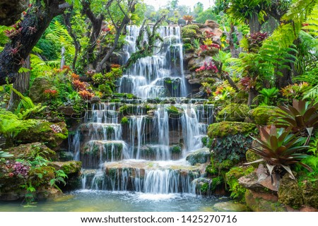 Waterfall in Thailand.View of waterfall in beautiful garden at sakon nakhon  province,Thailand.