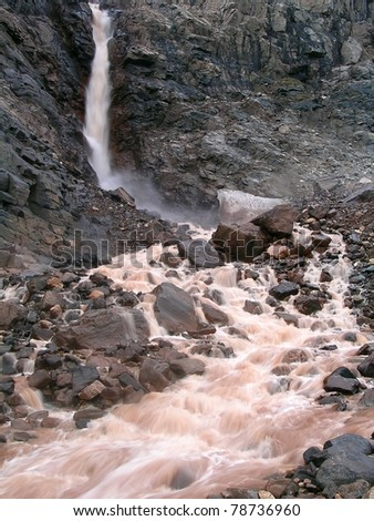 Waterfall in the arctic mountian