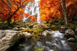 Waterfall in the autumn