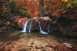 Waterfall in the autumn in the Crimea