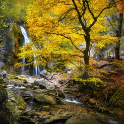 Waterfall in the autumn in the Crimea