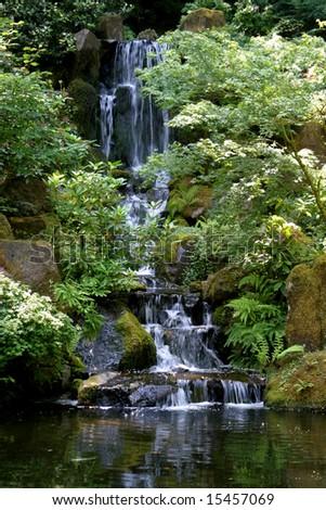 Waterfall in the Japanese Gardens Portland Oregon