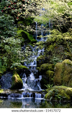 Waterfall in the Japanese Gardens Portland Oregon