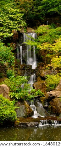 waterfall in the japanese gardens portland oregon USA