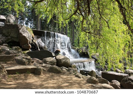 waterfall in the park in Warsaw