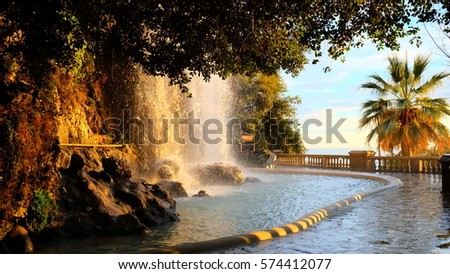 Waterfall in the Park of Castle Hill, Nice France