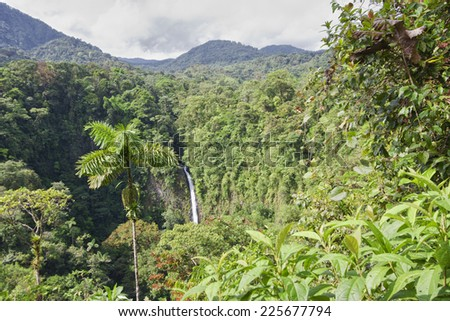 Waterfall in the rainforest of Costa Rica - Catarata Rio Fortuna, La Fortuna, Alajuela province, Costa Rica